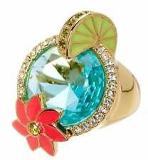 *NWT* Kate Spade Out of Office Gold Cocktail Ring Large Blue Stone Poolside SZ 7