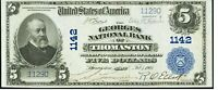 $5 1902 Thomaston Maine ME National Currency Bank Note Bill! Charter #1142 AU!!