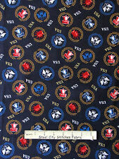 Patriotic Statue Of Liberty Bell Eagle Blue Cotton Fabric P&B One Nation YARD