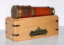 Brass telescope with wooden box marine maritime dollond london telescope gift