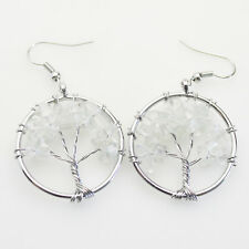 Life Reiki Chakra Silver Hook Earrings Natural Clear Crystal Chip Beads Tree of
