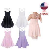 Kids Girls Ballet Dress Gymnastics Leotard Tutu Skirt Strappy Dancewear Costume