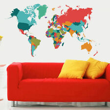 Colored World Map Wall Sticker Bedroom Large Size Self-adhesive TV Wall Decal