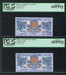 Bhutan 2 Notes One Ngultrum 2006 P27a Uncirculated Grade 65