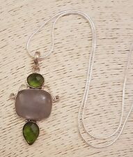"""Faceted Green Gemstone & Moonstone 55mm Pendant 22"""" Silver Snake Chain Necklace"""