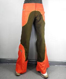 Khaki Green & Orange Flared Trousers   Size S  W 32 Vintage Rave Psy Trance