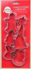 6 PC SET FESTIVE CHRISTMAS COOKIE CUTTERS MOULDS XMAS BAKING TOOL PARTY