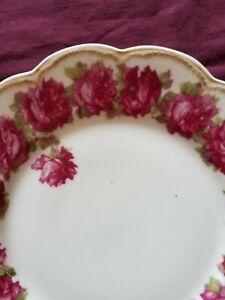 """Haviland Limoges Schleiger 55D Drop Rose 8 1/2"""" Plate Dark Rose Color"""