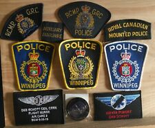 LOT OF 10 POLICE (RCMP/WPS), FIRST RESPONDER SHOULDER PATCHES and Challenge Coin