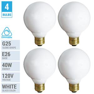 4 Pack 40G25/W Incandescent Globe Bulbs 120V 40W G25 Medium E26 Dimmable White