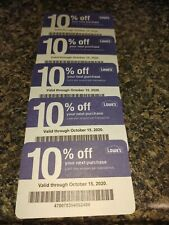 (5) Lowe's 10% off coupons good for competitors Home Depot expire Oct 15th, 2020