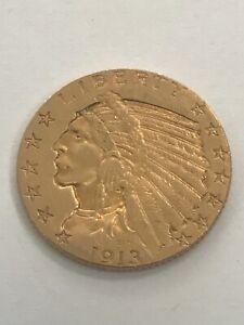 1913 US American Indian Head Half Eagle Gold $5 Dollar