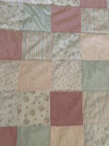 Simply Shabby Chic Kids Rachel Ashwell Twin Pink Blue Patchwork Quilt Coverlet