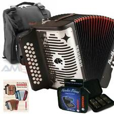 Hohner Panther FBE FA 31 Button Accordion with Bag, Strap, Book, 3pk Harmonica