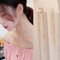 Fashion Gold Heart Tassel Earrings Stud Long Drop Dangle Women Party Xmas Gift