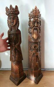 rare statue sculpture bois chêne st pierre dieu religion église vierge marie art