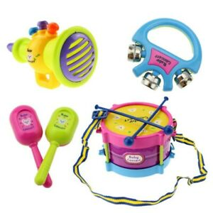 5Pcs Kids Baby Roll Drum Musical Instruments Band Kit for Children Toy Gift Set