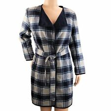 Jones NY Collection Coat Womens 1X Blue Plaid Open Front Belted Long Jacket