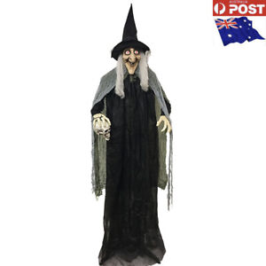Animated Standing Life Size Witch Laugh Talk Move Light Up Eyes Halloween Prop