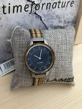 LAiMER Holzuhr Eileen - Damen Armbanduhr 100% Zebranoholz, Metall, Top Design