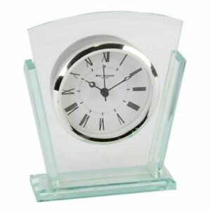 William Widdop Glass Mantle Clock, Clear Arched, Black Arched, Bezel Art Deco