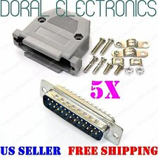 5x DB25 25-Pin Male Solder Cup Connector Plastic Hood Shell & Hardware DB-25