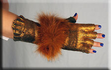 New Gold Chenille Fingerless Gloves Gold Fox Fur Trim Hand Warmer - Efurs4less