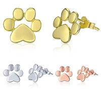 Voroco Dog Paw 925 Sterling Silver Footprint Stud Earrings Fashion Women Jewelry