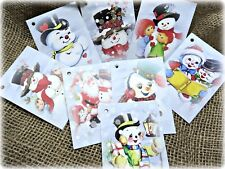 8 Traditional Jolly Snowmen Christmas Gift Tags & Natural Jute Twine