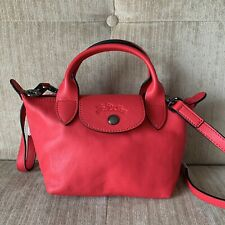NEW Longchamp Bright Red MINI Le Pliage Cuir Lambskin Top Handle Crossbody Bag