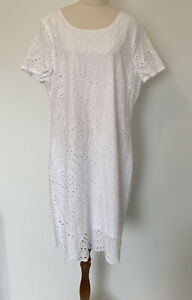 Rockmans White Broiderie Anglaise Size 16 Shift Cotton Dress