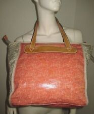 FOSSIL Key-per Red Plaid Check Gray Bird Side Coated Canvas Shopper Tote Handbag