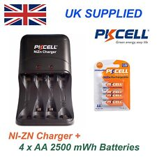 NI-ZN 4 x 1.6V AA 2500 mwh High performance, Recharable Batteries & Charger Pack