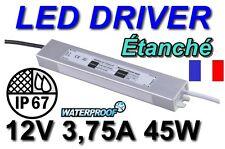 Transformateur Spécial Alimentation Continu LED 45W 220V 12V 3,75A IP67 Étanche