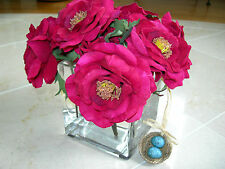 NDI Fuschia Pink Roses Floral with Greenery Acrylic Water Glass Vase