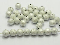 """200 Silver Stardust Acrylic Round Beads 8mm(0.31"""") Spacer Finding"""