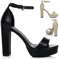 Womens Platform Block Heel Barely There Sandals Shoes