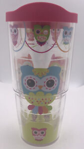 Tervis 24oz Lg. Travel Tumbler Multicolor Owls Hot/Cold Insulated Cup Lid +Straw