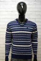 KAPPA Uomo Maglione Taglia L Pullover Cardigan Felpa Sweater Lana Blu Wool Righe