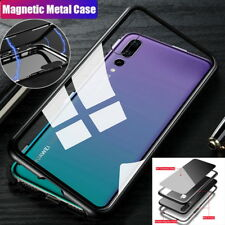 For Huawei P20 Pro/Lite/Plus Magnetic Metal Case Protective Tempered Glass Cover
