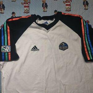 VTG 90s adidas Kansas City Wizards Soccer T Shirt XL White Rainbow MLS USA Made