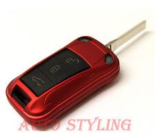 Metallic Red Key Fob Cover Flip Remote Case Hull Housing 2 3 Button Porsche 44