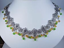 """- 16-18"""" Length 0918 D'Orlan Rhodium Plated Necklace"""