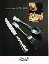 PUBLICITE ADVERTISING 104  1980  CHRISTOFLE  art de la table couverts CHINON