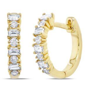 14K Yellow Gold Round Baguette Diamond Huggie Earrings 0.42TCW Natural Mini Hoop