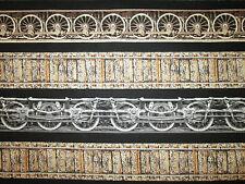 Train Railroad Wheels Tracks Border Cream Cotton Fabric FQ