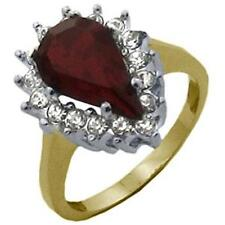 14K GOLD EP 6.49CT DIAMOND SIMULATED RUBY RING 8 or Q