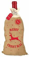 XMAS / CHRISTMAS HESSIAN WINE GIFT BOTTLE BAG - GIFT FOR HIM / HER