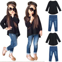 2PCS Toddler Kids Baby Girls Outfit Solid Long Sleeve Tops Jeans Denim Pants Set