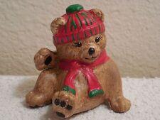 "TBM Small Ceramic Hand Painted Christmas Bear Figurine ~ 2 1/4"" Tall"